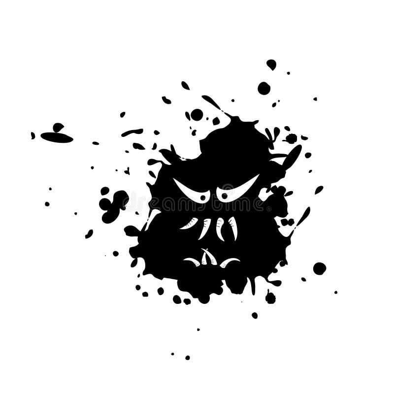 Imaginative monster face on ink stain vector illustration