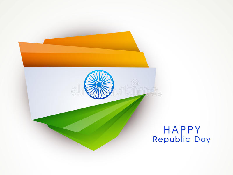 Creative design for Indian Republic Day celebration. Stylish creative paper cutout design in national flag color with shiny Ashoka Wheel for Indian Republic Day vector illustration