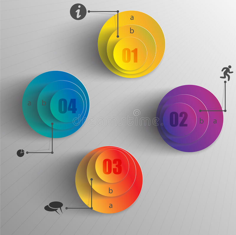Creative design infographic colored circles data. Creative design infographic colored layers circles data royalty free illustration