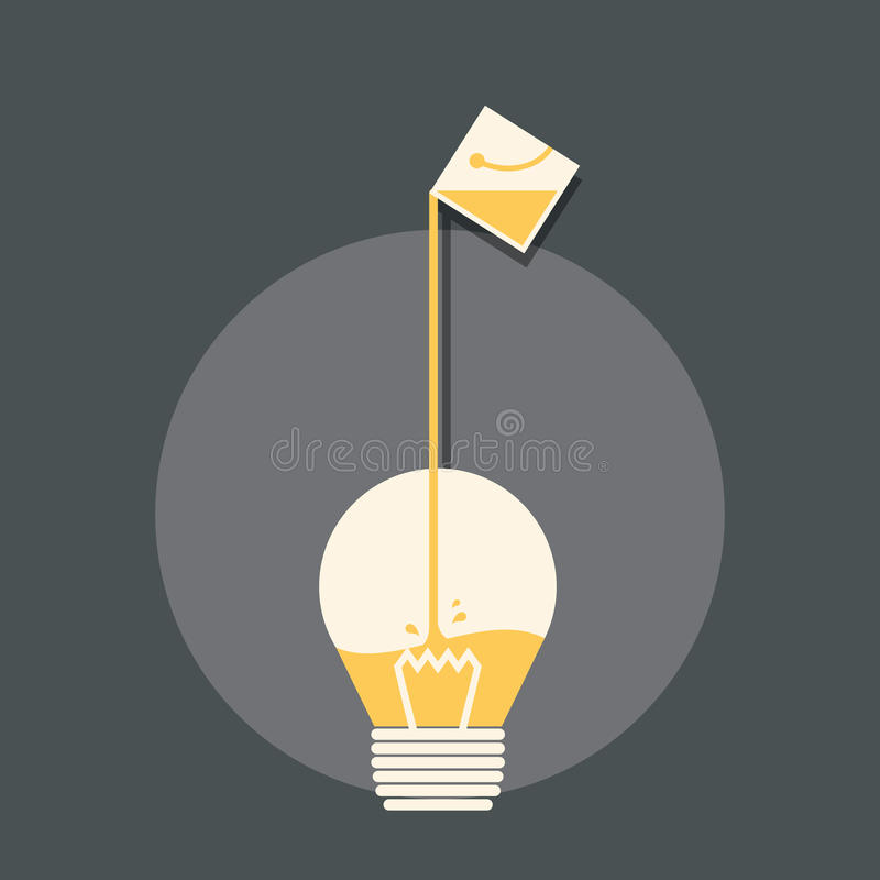 Creative design inspiration concept. Filling the creative light bulb with paint bucket stock illustration