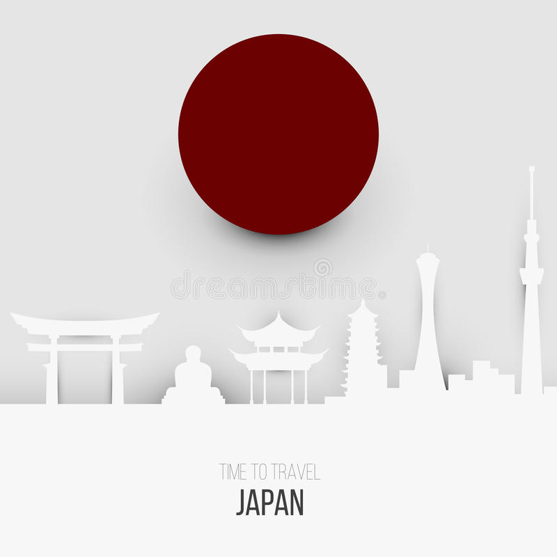 Creative design inspiration or ideas for Japan. Association and attractions stock illustration