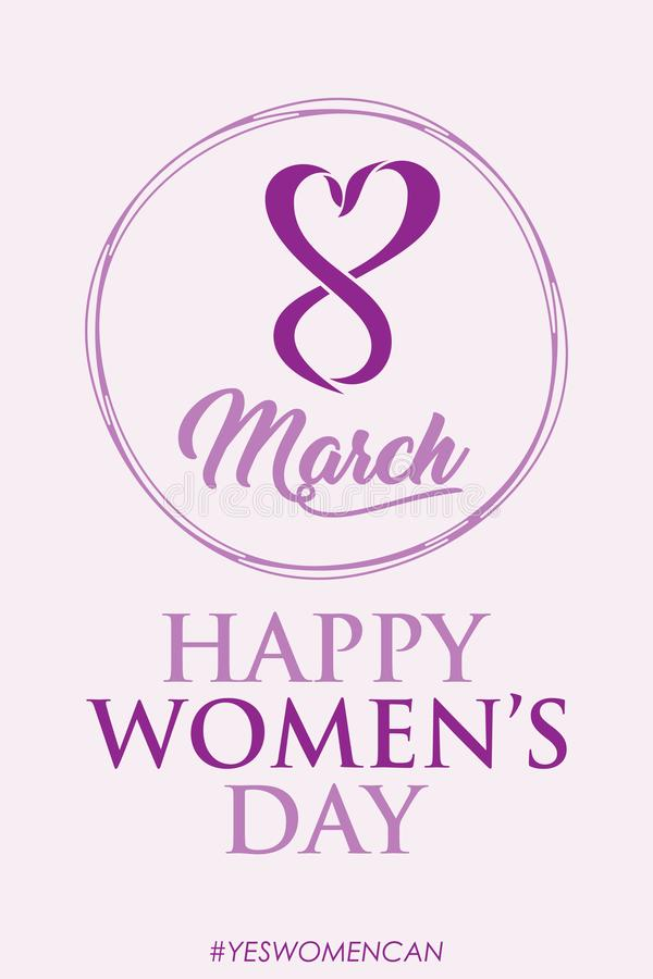 Creative design International Women Day vector with abstract letter 8 shaped love and face women stock illustration