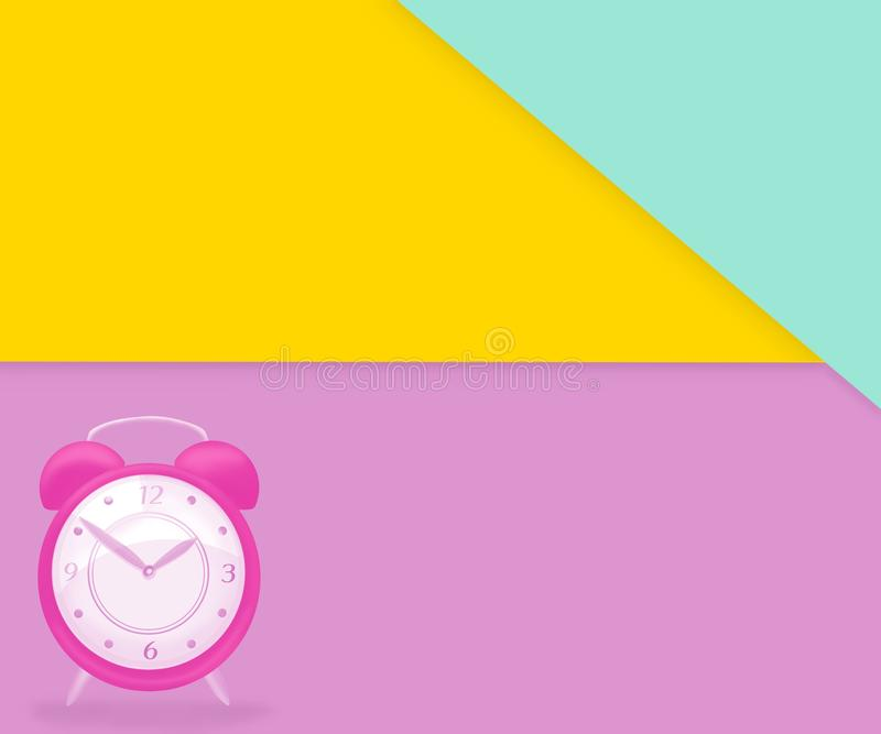 Creative design with an isolated pink clock on a colorful paper style background vector illustration