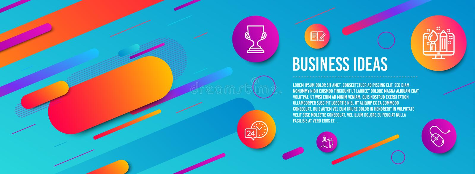 Creative design, Launch project and 24h service icons set. Award cup, Feedback and Computer mouse signs. Vector. Header banner. Creative design, Launch project royalty free illustration