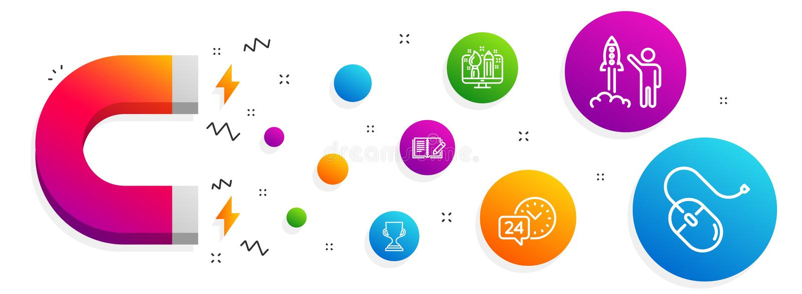 Creative design, Launch project and 24h service icons set. Award cup, Feedback and Computer mouse signs. Vector. Magnet attracting. Creative design, Launch vector illustration