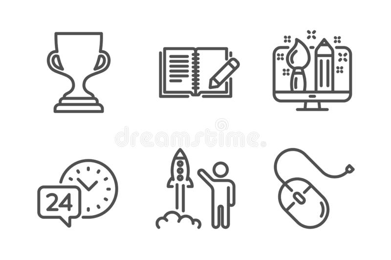 Creative design, Launch project and 24h service icons set. Award cup, Feedback and Computer mouse signs. Vector. Creative design, Launch project and 24h service royalty free illustration