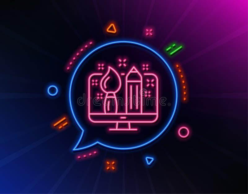 Creative design line icon. Graphic designer sign. Vector royalty free illustration
