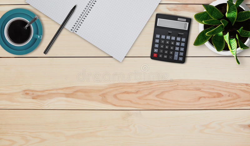 Creative design mockup set of workspace desk. Top view of home desktop. Calculator, mug with coffee or tea, pot with flower, noteb stock image