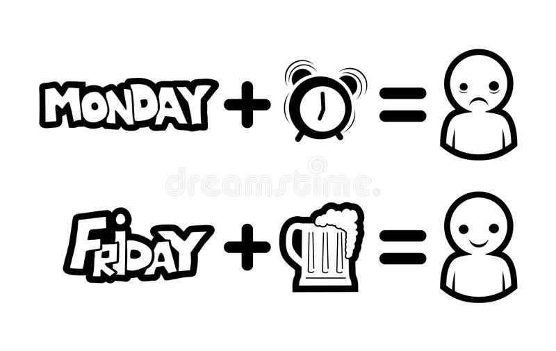 Monday and Friday funny symbols stock illustration