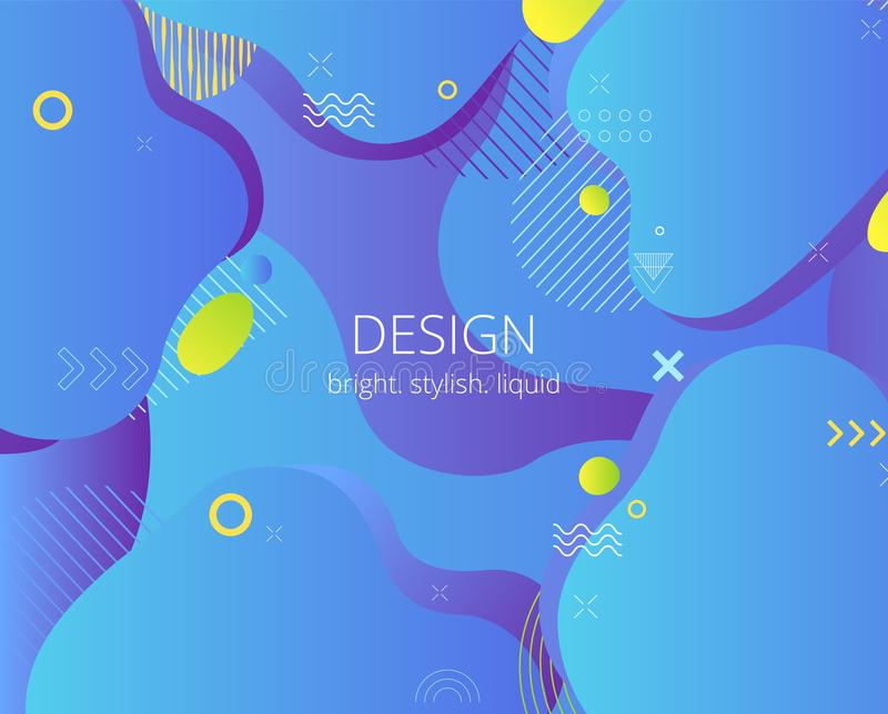 Creative design poster with liquid shapes. Modern style abstraction background. royalty free illustration