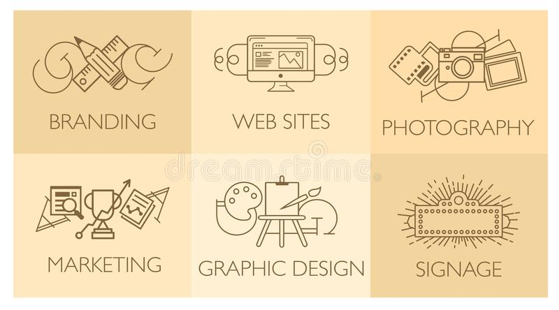 Creative design process concept with web studio development elements. Flat line icons modern style vector illustration stock illustration