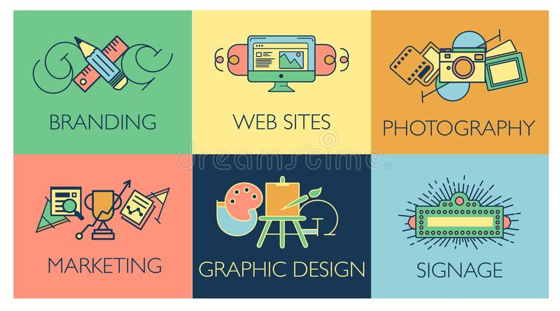 Creative design process concept with web studio development elements. Flat line icons modern style vector illustration. Creative design process concept with web stock illustration