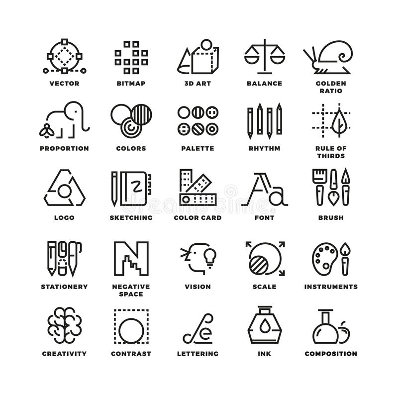 Creative design process linear vector icons for web app. Tool app, button tool drawing, bitmap and proportion tool icon, tool web app sketching illustration royalty free illustration
