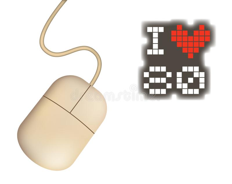 Retro computer mouse and I love 80 message stock illustration