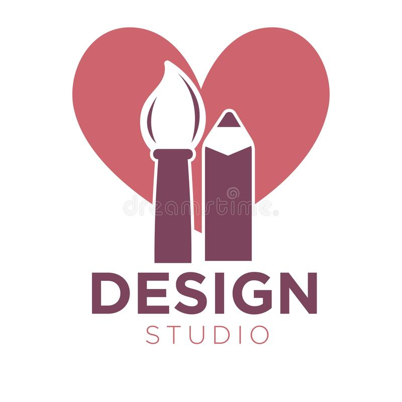 Creative design studio logotype with brush and pencil illustration. Creative design studio promotion logotype. Cartoon thick paint brush and pencil of soft vector illustration