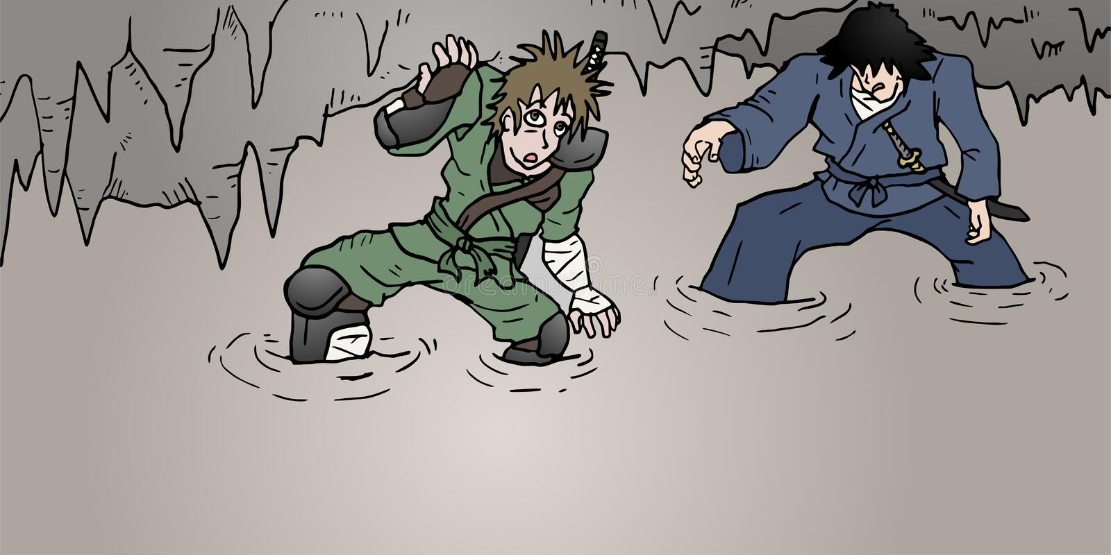 Two characters in mystery cavern. Creative design of two characters in mystery cavern royalty free illustration
