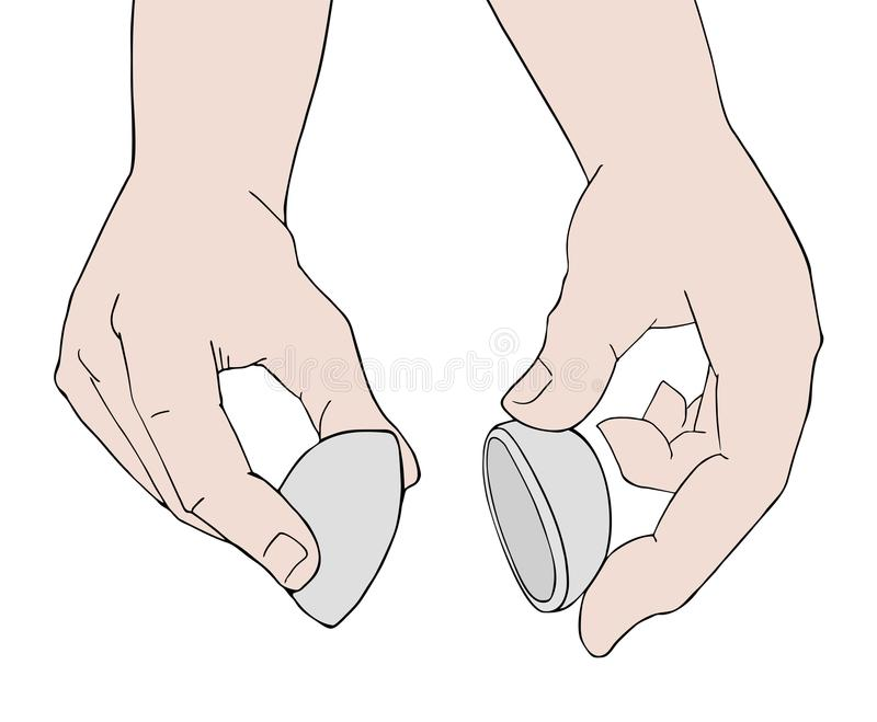 Two hands opening mystery ball stock illustration