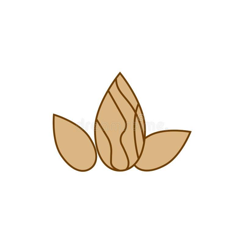 Creative nut logo design illustration dry fruit almond. Creative design vector illustration simple minimal dry fruit almond logo healthy food healthcare vector illustration