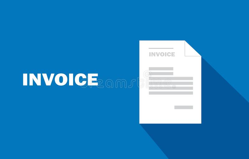 Creative design vector invoice template. on blue background royalty free illustration