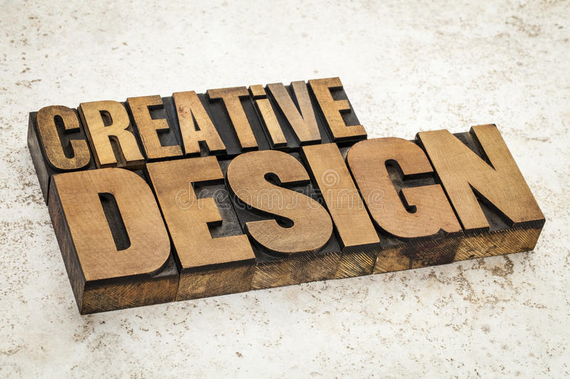 Creative design in wood type stock images