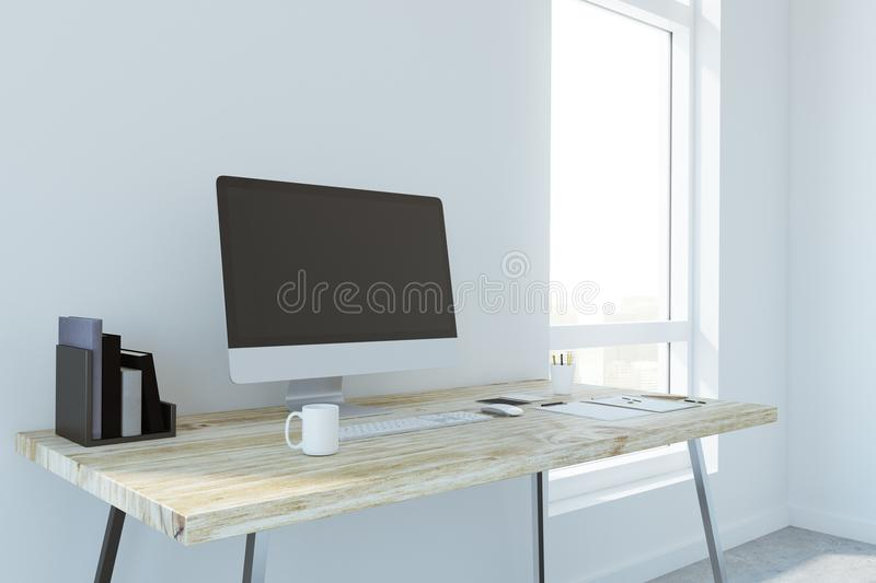 Creative designer desk with empty computer. Coffee cup, supplies and other items. Side view. Mock up, 3D Rendering royalty free illustration