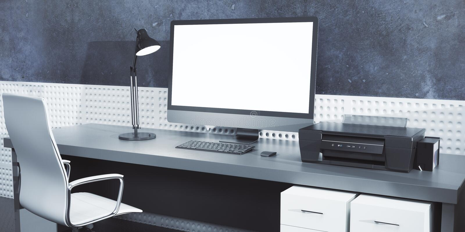 Creative designer desk with empty computer. Side view of creative designer desk with blank pc computer monitor, porinter and other items on concrete wall vector illustration