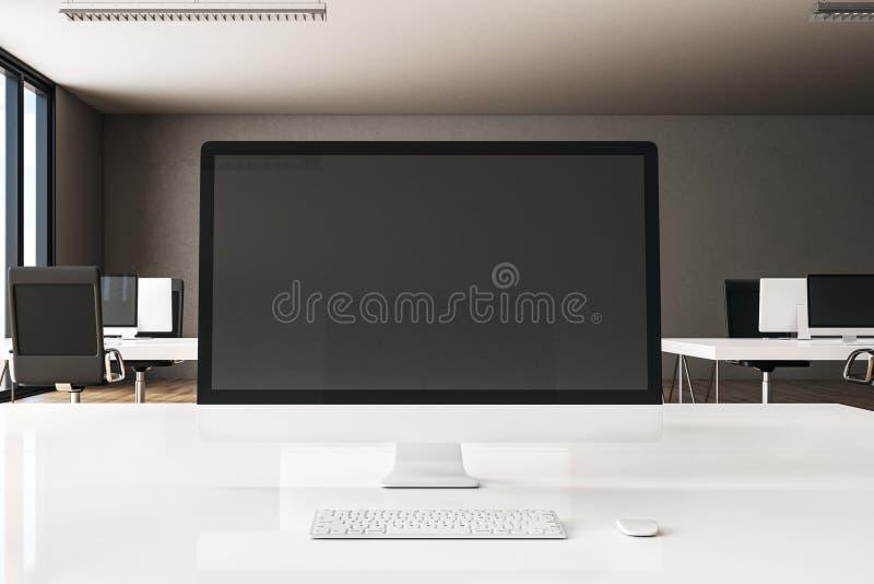 Creative designer desktop. Close up of creative designer desktop with empty computer monitor on blurry office background. Mock up, 3D Rendering vector illustration