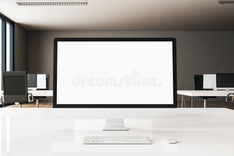 Creative designer desktop. Close up of creative designer desktop with empty white computer screen on blurry office background. Mock up, 3D Rendering vector illustration