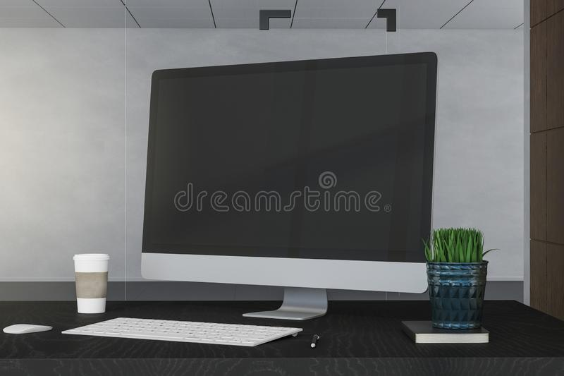 Creative designer desktop. With empty computer screen, coffee cup and supplies on concrete wall background. Mock up, 3D Rendering royalty free illustration