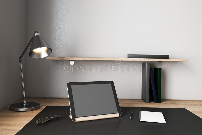 Creative designer desktop with empty computer. Screen. Mock up, 3D Rendering royalty free illustration