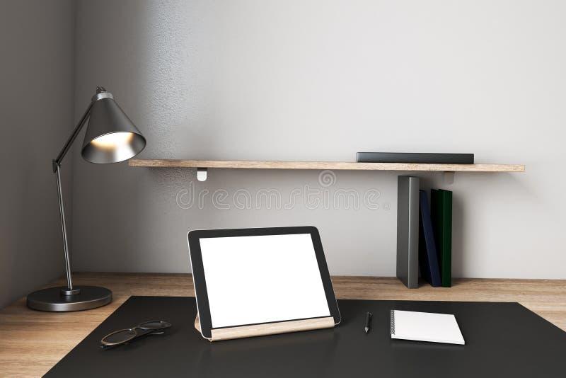 Creative designer desktop with white computer. Screen. Mock up, 3D Rendering royalty free illustration
