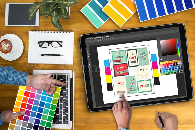 Creative Designer Graphic designer at work. Color swatch sample. S, Illustrator Graphic designer working digital tablet and computer stock illustration