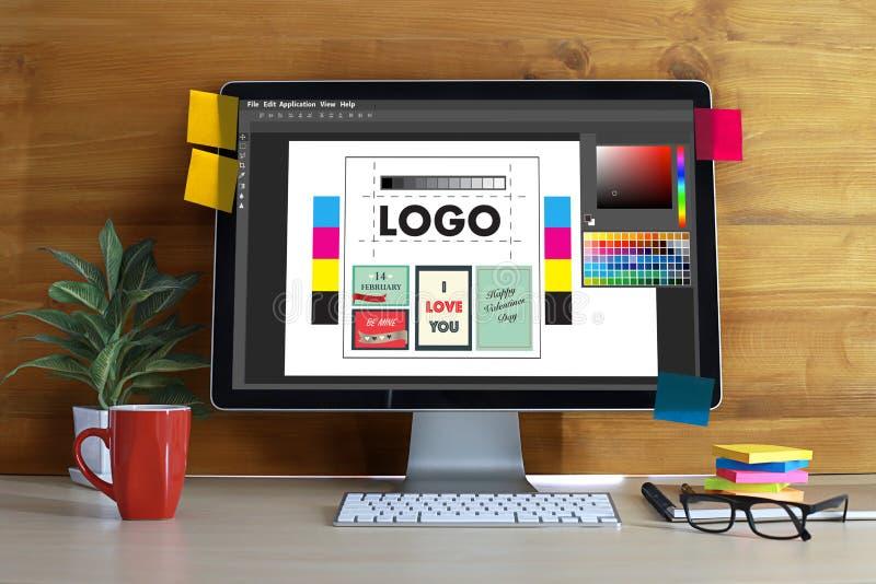 Creative Designer Graphic at work. Color swatch samples, Illustrator Graphic designer working digital tablet and computer stock illustration