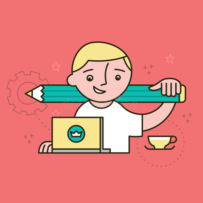Creative Designer at Work. Creative at work. Passionate designer, freelancer, young man in white t-shirt working on laptop holding big green pencil on his vector illustration