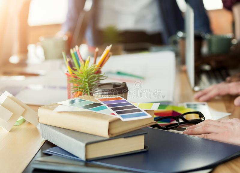Creative designer workplace stock image