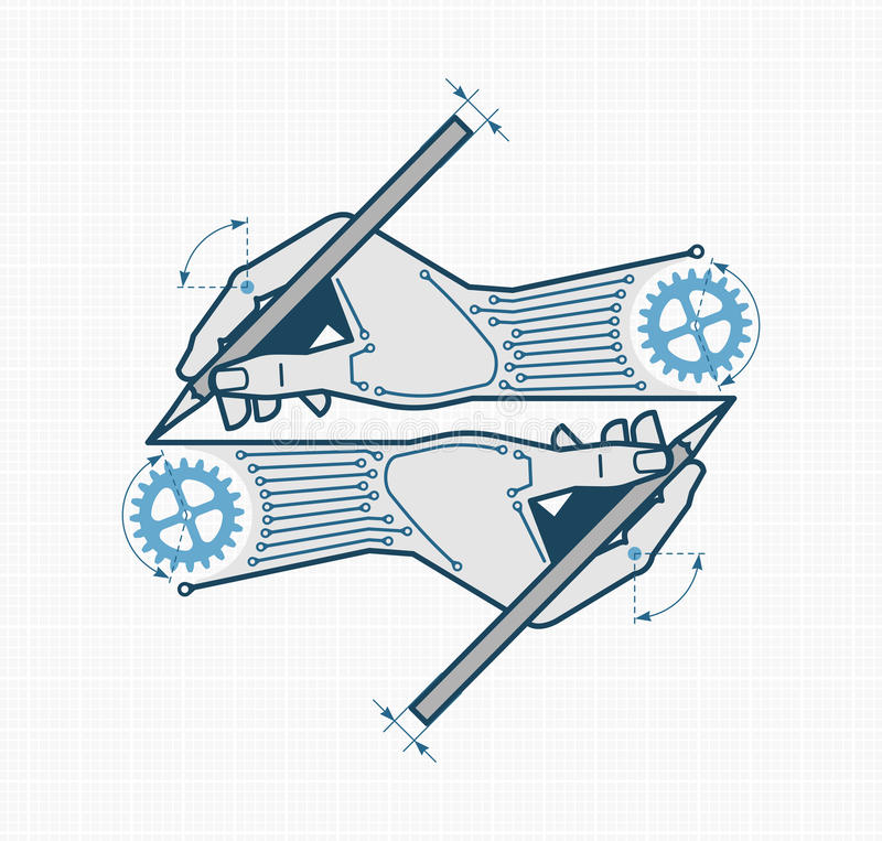 Creative Designing & Engineering. Vector illustration on the subject of `Industrial Design / Engineering stock illustration