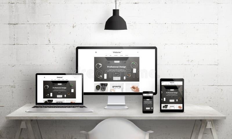 Creative desks scene for web design agency promotion royalty free illustration