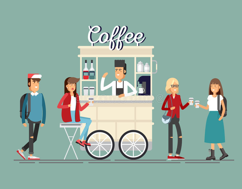 Creative detailed vector street coffee cart or shop with espresso machine, syrup bottles. Disposable cups and with seller. Young people having a coffee stock illustration