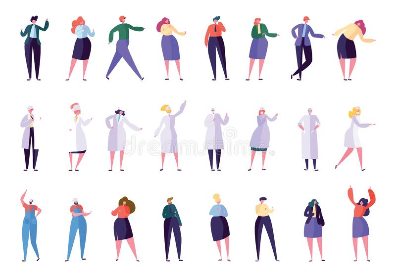 Creative Different Business Profession People. Set. Business Character in Various Lifestyle Director, Secretary, Manager, Doctor, Nurse, Foreman, Builder. Flat vector illustration