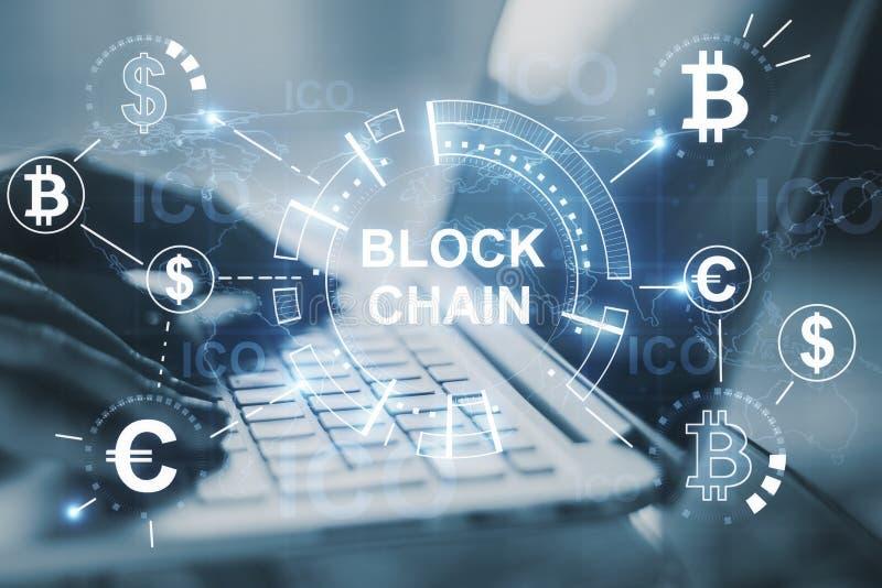 Creative digital blockchain backdrop vector illustration