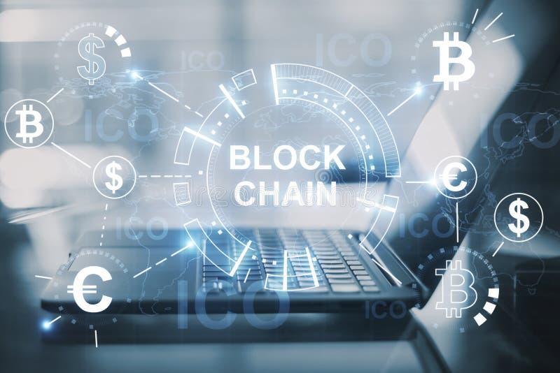 Creative digital blockchain background royalty free illustration