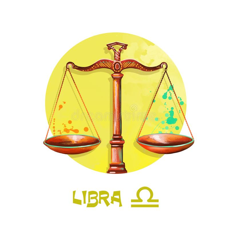 Creative digital illustration of astrological sign Libra. Seventh of twelve signs in zodiac. Horoscope air element. Logo sign with royalty free illustration