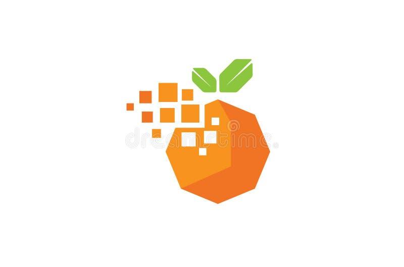 Creative Digital Pixel Orange Fruit Logo Design Symbol Vector Illustration. Creative Digital Pixel Orange Fruit Logo Design Symbol Vector vector illustration