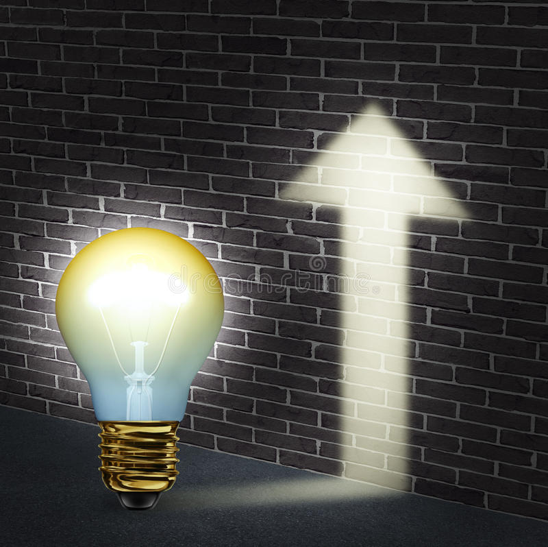 Creative Direction. Business concept with an illuminated light bulb an upward arrow shaped glow on a brick wall as a success symbol of innovation and creativity stock illustration