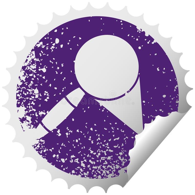 A creative distressed circular peeling sticker symbol magnifying glass. An original creative distressed circular peeling sticker symbol magnifying glass vector illustration