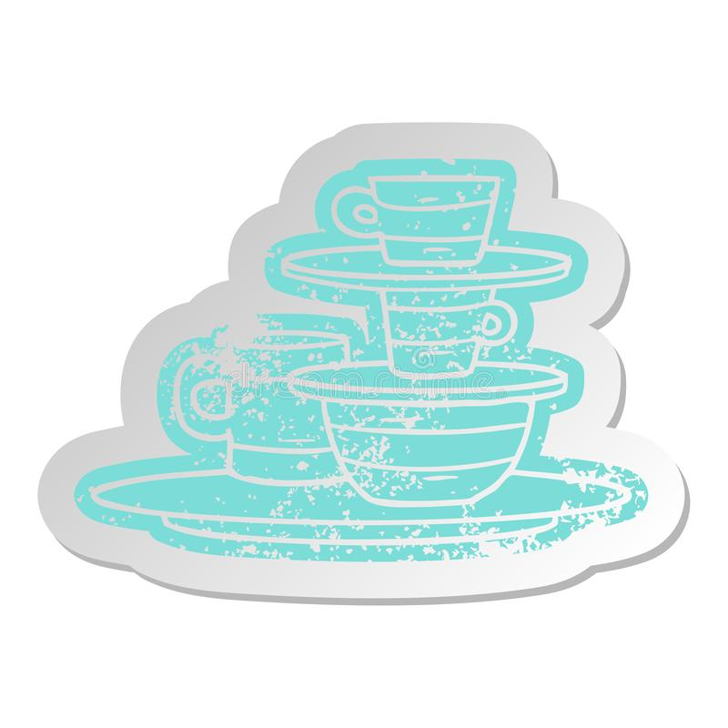 A creative distressed old sticker of colourful bowls and plates. An original creative distressed old sticker of colourful bowls and plates royalty free illustration