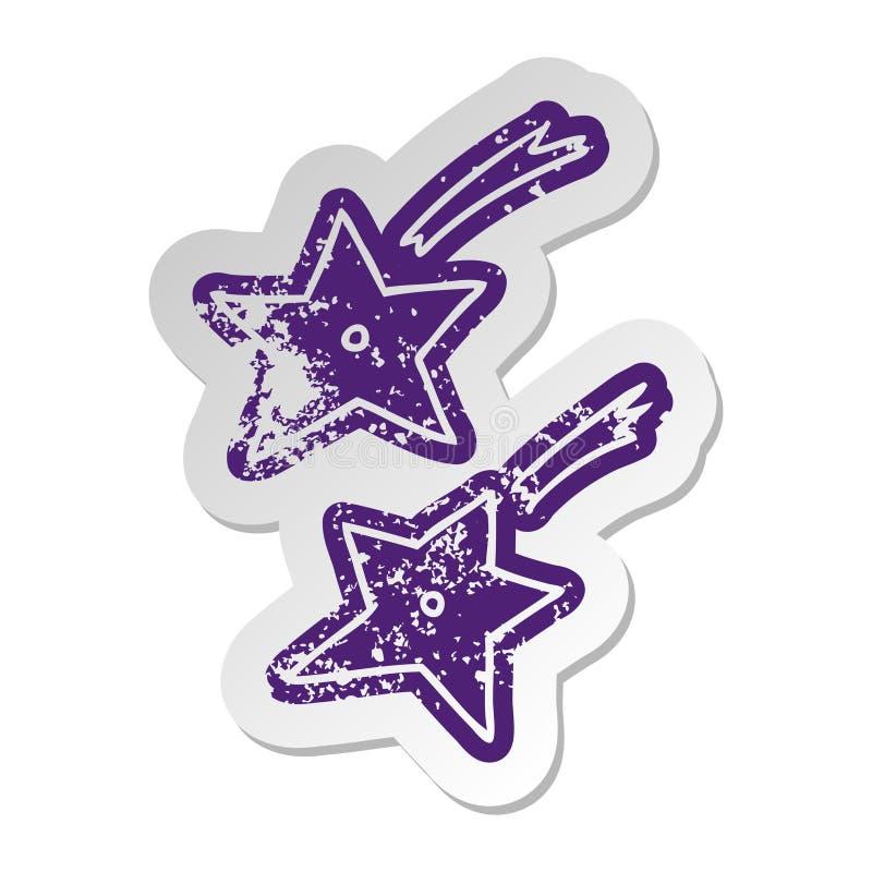 A creative distressed old sticker of ninja throwing stars. An original creative distressed old sticker of ninja throwing stars stock illustration