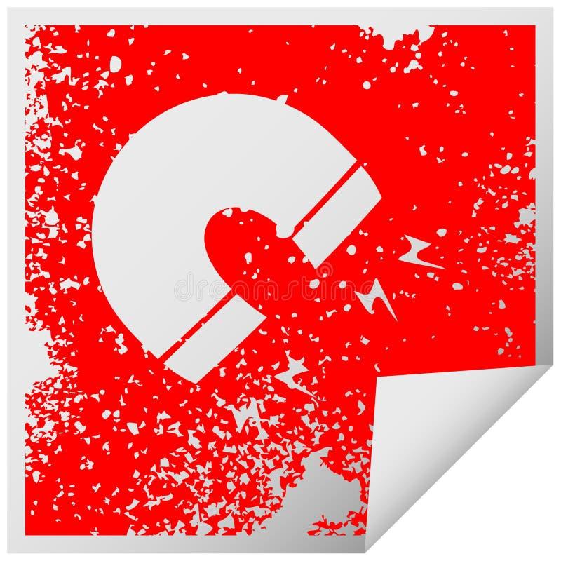 A creative distressed square peeling sticker symbol magnet royalty free illustration