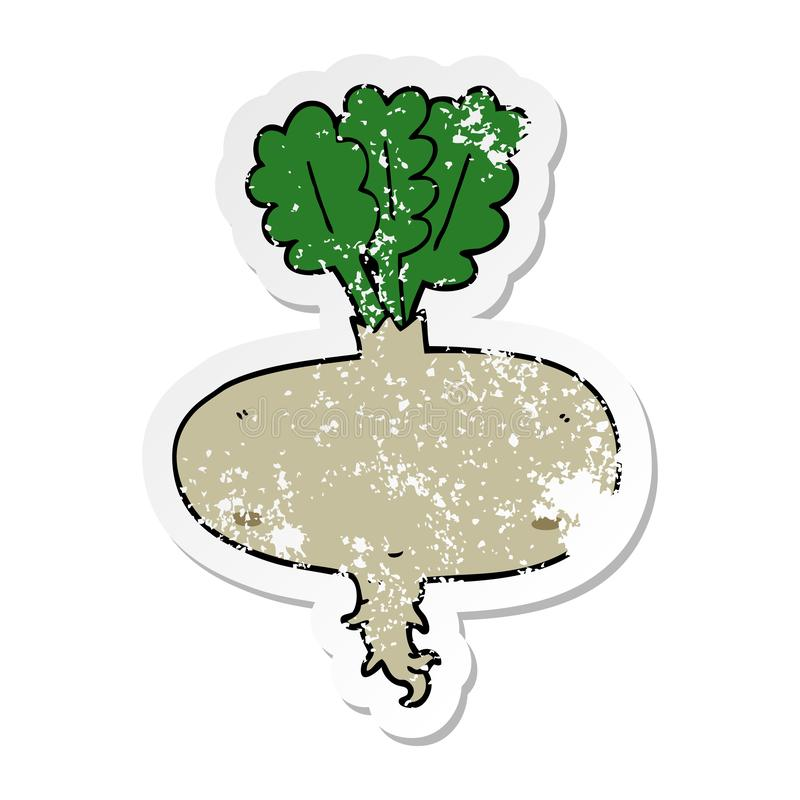 A creative distressed sticker of a cartoon beetroot. An original creative distressed sticker of a cartoon beetroot stock illustration