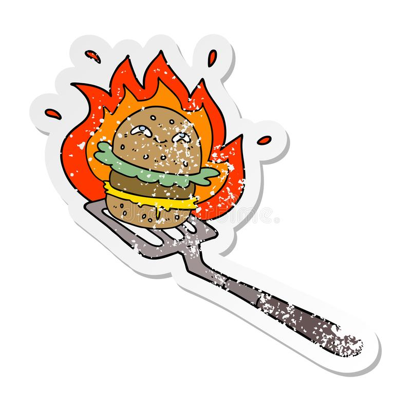 A creative distressed sticker of a cartoon burger cooking. An original creative distressed sticker of a cartoon burger cooking vector illustration